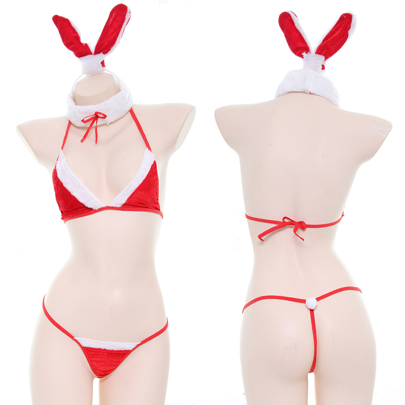 New Year Christmas Red Sexy Cute Bunny Girl Bikini suit Cosplay Women Lolita Kawaii Bra & Panties Set Costume Plush Lingerie Set
