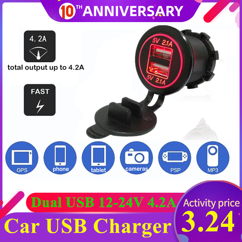 OBD2 Car USB Charger for Mobile Phone PAD LED 4.2A Dual USB Car Charger Socket 12-24V Charger Adapter Car Accessories