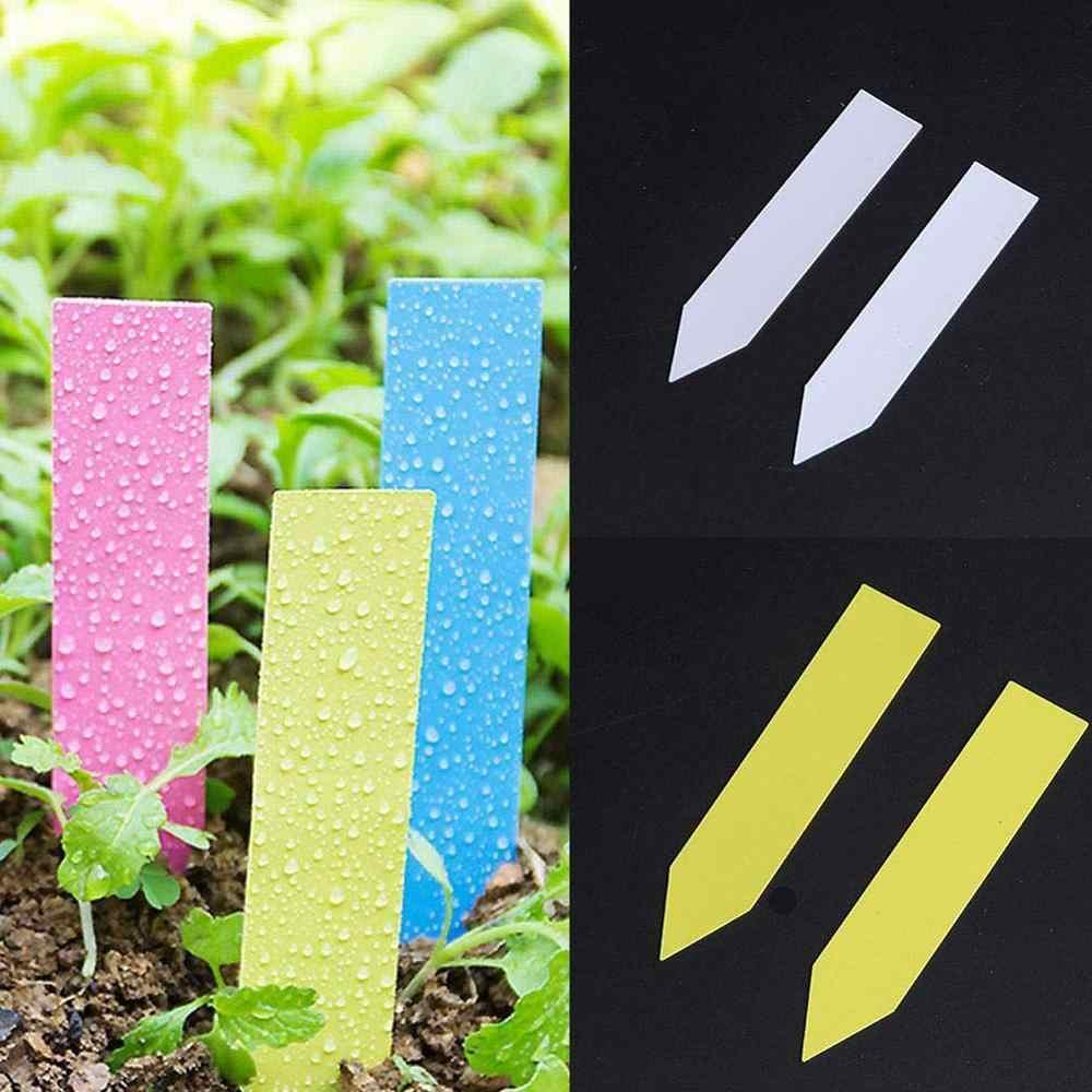 Etiquetas de plantas para jardim, 100 pçs, etiquetas de plástico, marcador de berçário, vasos de flores, rótulos de mudas, marcador de ferramentas, cores mistas