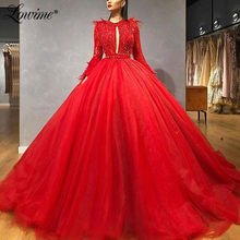 Red Beaded Arabic Evening Dresses 2020 Feather Prom Dress Long Sleeves Dubai Formal Kaftans Pageant Party Gowns Robe De Soiree(China)