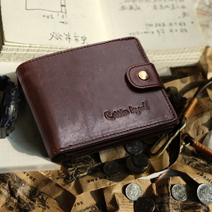 Image 4 - Cobbler 전설 검은 암소 정품 가죽 남성 지갑 짧은 100% 최고 품질 패션 고품질 동전 지갑 2019 원래 브랜드