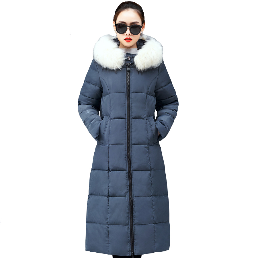 New Women Winter Jacket Thick Long Parkas Solid Hooded With Faux  Fur Collar Snow Wear Coats Female Padded  Chaqueta Mujer