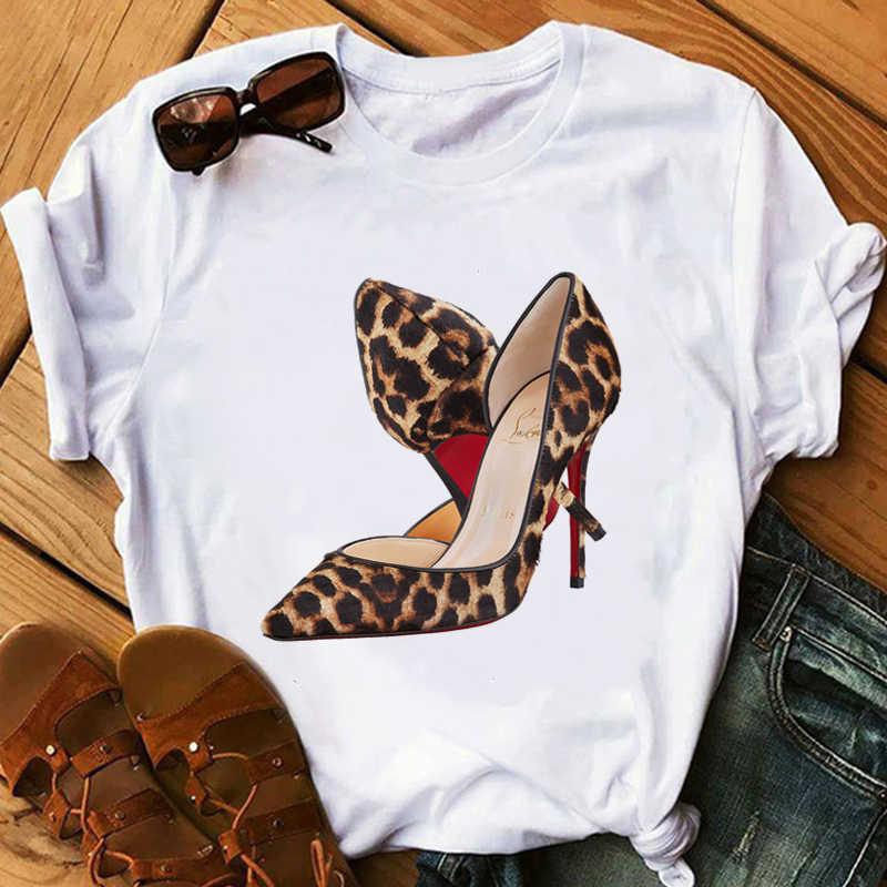 핑크 하이힐 T 셔츠 레이디 럭셔리 메이크업 파리 스타일 T-셔츠 여성 여름 짧은 소매 탑스 티 소녀 Hipster T-셔츠 선물