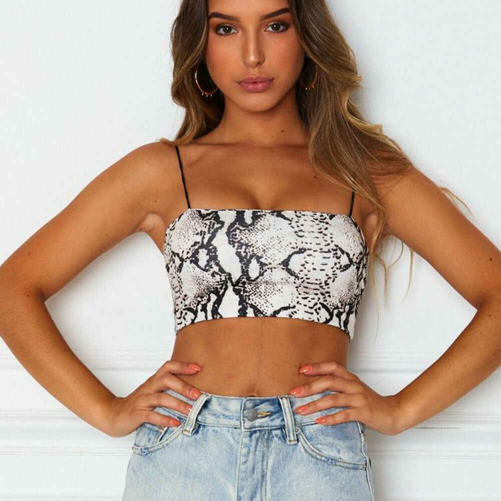 Frauen Sexy Ärmel Crop Tops T Schlange Haut Druck Tant tops Body Hemd 2019 Sexy Mode Damen Tanks