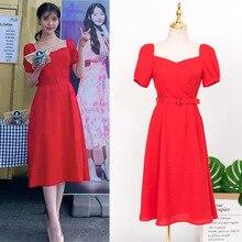 цена на Red Dress with belt for women DEL LUNA Hotel same IU Lee Ji Eun summer Pregnant Maternity temperament woman TV Korean same dress