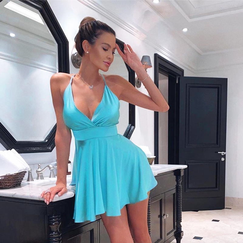 Cryptographic Satin Sexy Backless Sleeveless Party Night Club Wrap Mini Dresses Spaghetti Straps Elegant Dress Solid Vestidos 4