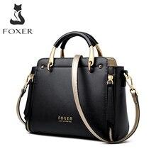 FOXER 핸드백 여성 지갑 세련된 Totes 여성 분할 가죽 어깨 가방 대용량 핸드백 세련된 메신저 가방 928019F
