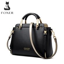 FOXER çanta kadın çanta şık tote kadın bölünmüş deri omuz çantaları büyük kapasiteli çanta şık postacı çantası 928019F