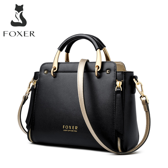 Foxer bolsa feminina chique totes feminino dividir sacos de ombro couro grande capacidade bolsas à moda sacos do mensageiro 928019f
