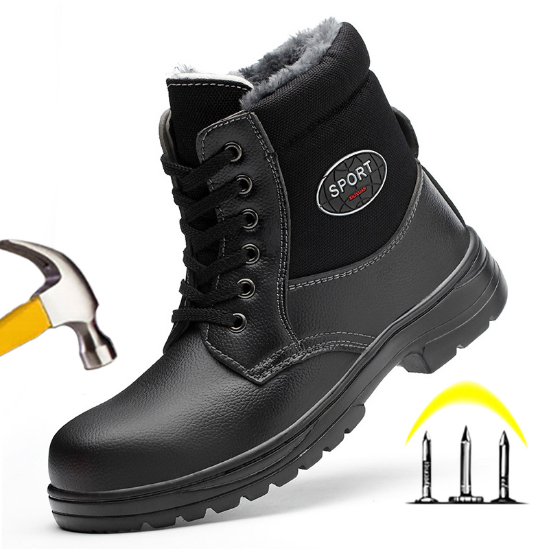 Steel Toe Work Safety Boot Plush Warm Winter Boots Men Boots Safety Shoes 2019 Men Winter Shoes Male Shoes Adult Boots Men 39 S