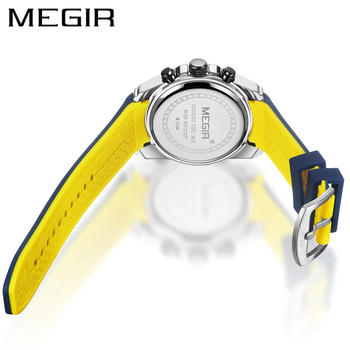 MEGIR 2020 Blue Sport Watches for Men Top Brand Luxury Chronograph Man Watch Military Quartz Clocks Luminous Relogio Masculino 2