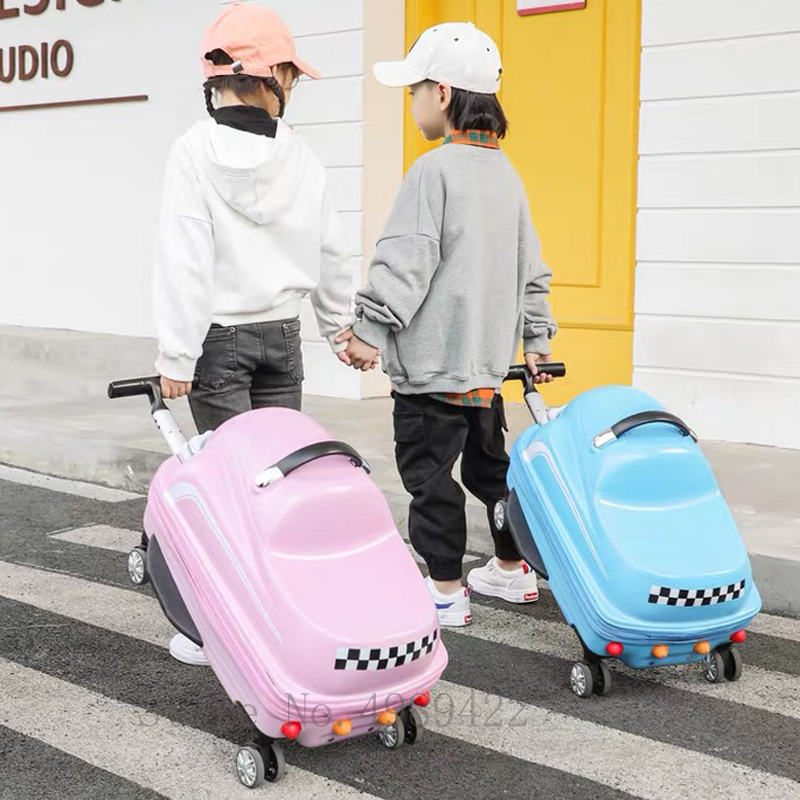 3D cartoon travel carry on suitcase with wheels kids trolley luggage bag Cute rolling luggage Can sit to ride suitcase 20''