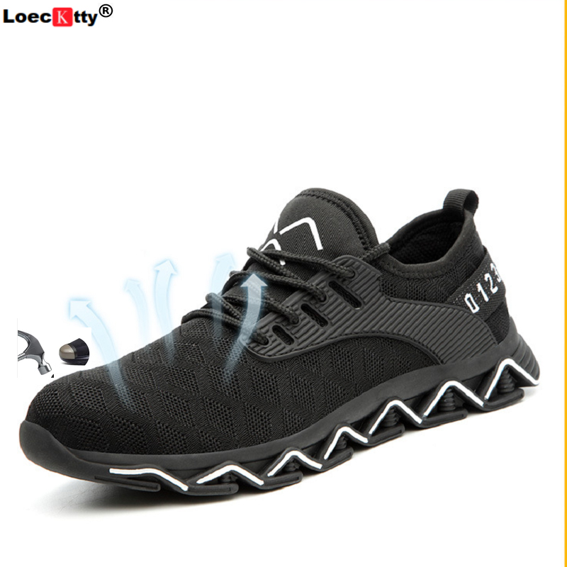 Loecktty Safety Shoes Boots For Men Male Autumn Breathable Work Shoes Steel Toe Indestructible Safety Work Boots Sneakers