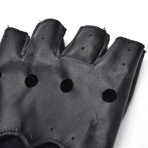PU Leather Gloves Punk Hip-hop Half-finger Round Tactical Gloves Without Fingers Nail Glove 6