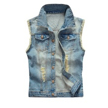 2019 Men's Sleeveless Jeans Jacket Vest Coats Autumn Cowboy Waist Coat Denim Jeans Vest Hip Hop Streetwears Pocket Fashion Vest стоимость