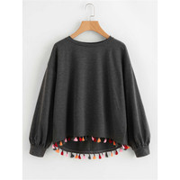 Sueter Mujer Invierno 2019 Solid Long sleeved Round Neck Lace Hem Stitching Rainbow Sweater Women Pullover Long Sleeve Top
