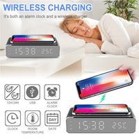 Led elétrico despertador com telefone sem fio carregador desktop digital thermo|Despertadores|Casa e Jardim -