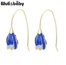 Wuli&baby Pink Blue Enamel Flower Drop Earrings Women Korean Style Dangle Gifts