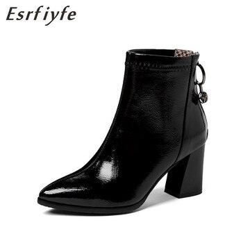 ESRFIYFE 2020 nuevo botas de cuero suave de las mujeres botas de tacón grueso zapatos de mujer Otoño Invierno cremallera botas de mujer de gran tamaño 34-48