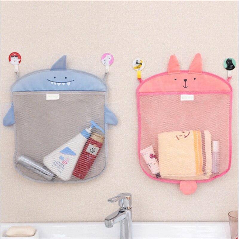 Cartoon Cute Bathroom Hanging Storage Basket Baby Kids Bathing Toy Storage Organizer Bathroom Folding Mesh Storage Basket