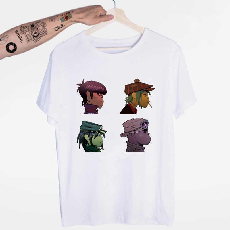 Gorillaz 음악 밴드 t-셔츠 o-넥 반팔 여름 캐주얼 패션 남여 남성과 여성 Tshirt