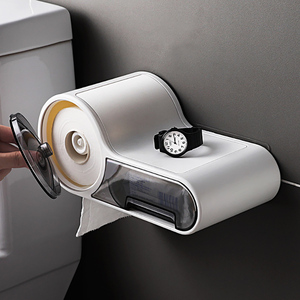 Image 2 - Baffect Bathroom Toilet Paper Holder Paper Tissue Box Plastic Toilet Dispenser Wall Mounted Roll Paper Storage Box Free Punching