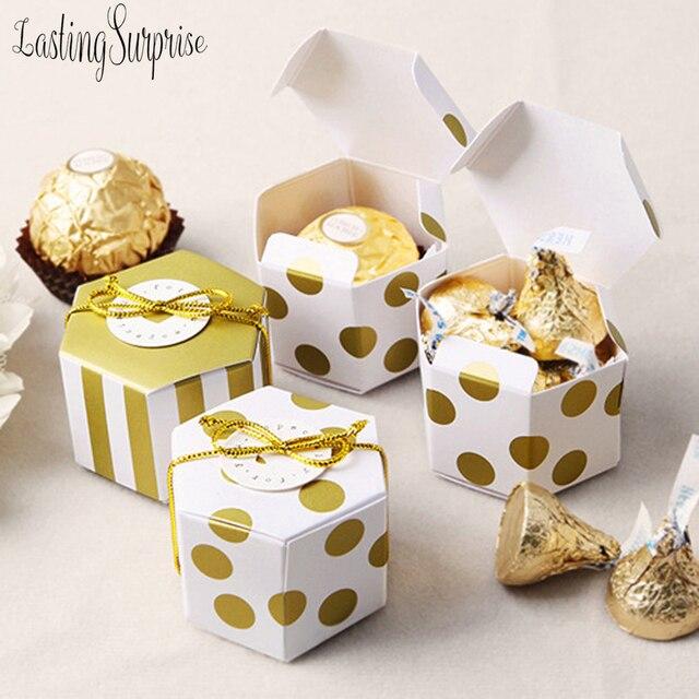 5 Mini Sọc Vàng Chấm Bi Tặng Hộp Lục Giác Cưới Chocolate Hộp Gel Hộp Kẹo Làm Bánh Gói Trang Trí Tiệc Cưới