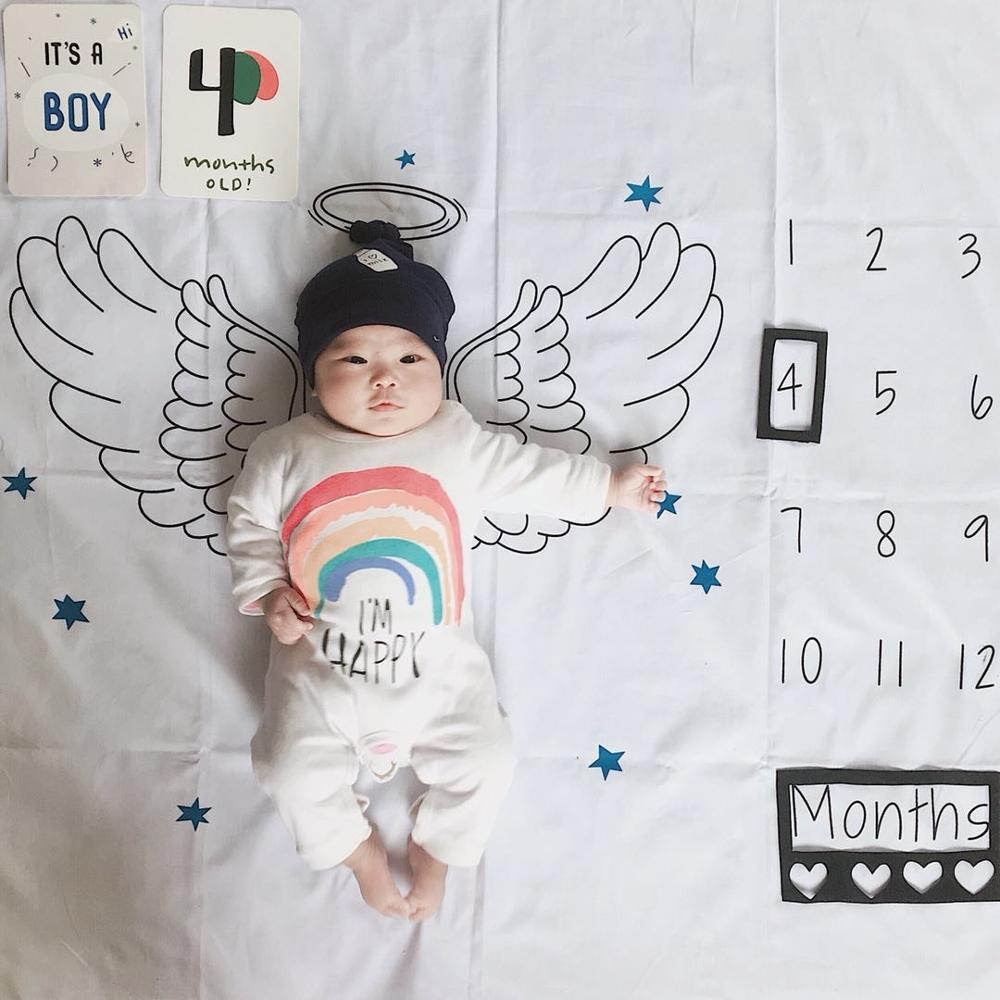 2019 Newborn Baby Milestone Blanket Infant Angel Wings Background Cloth Monthly Growth Number Shooting Photography Props