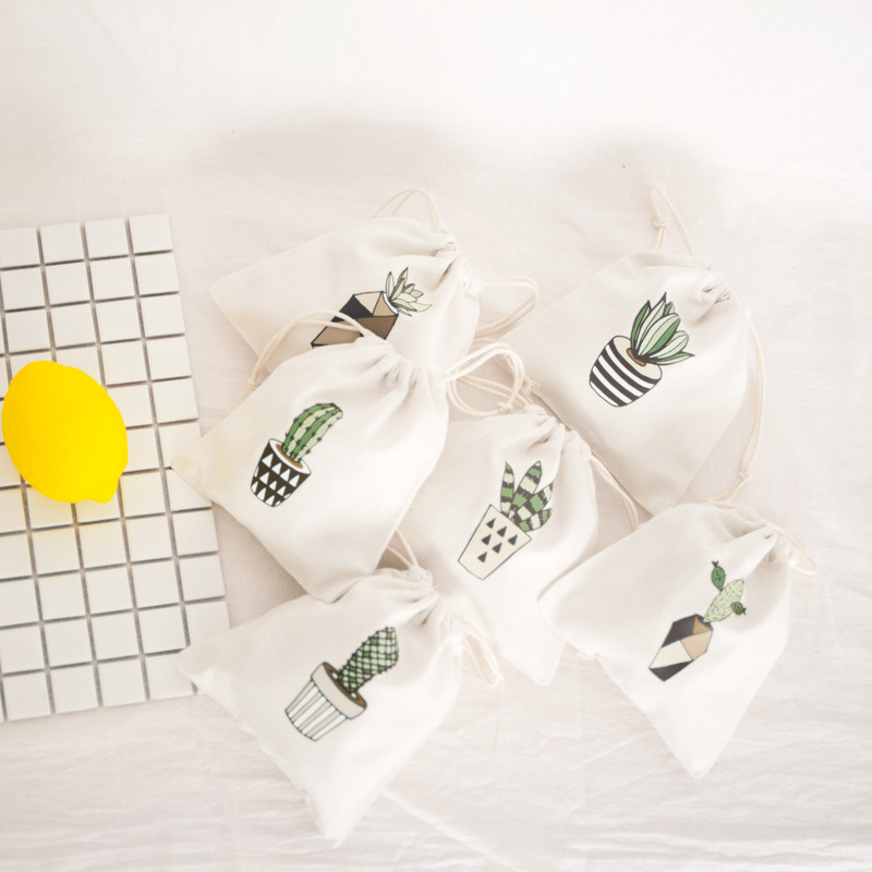Cactus printed bouquet mouth Drawstring Cotton Linen Storage Bag Gift Candy Tea Jewelry Organizer Makeup Cosmetic Coins key Bags