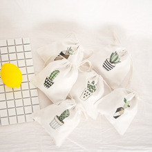 Cactus printed bouquet mouth Drawstring Cotton Linen Storage Bag Gift Candy Tea Jewelry Organizer Makeup Cosmetic Coins key Bags цена и фото