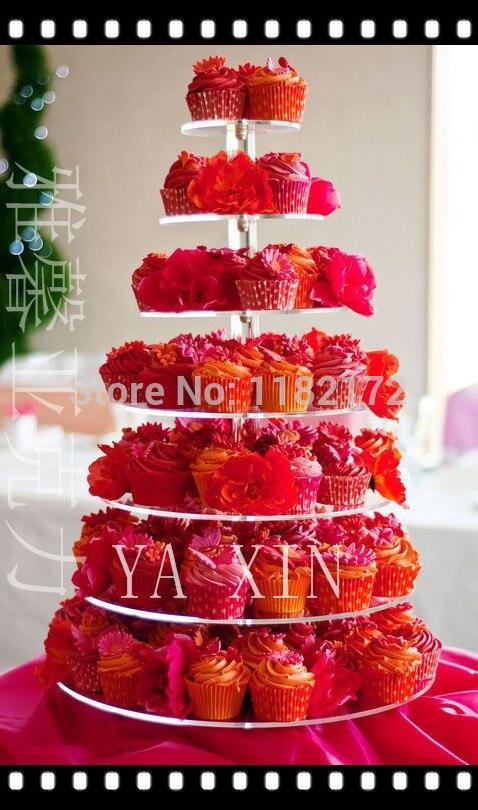 YAXIN 7 ярусные круглые красивые акриловые подставки для кексов Вечерние/Свадебные/праздничные принадлежности для торта полка для свадебного