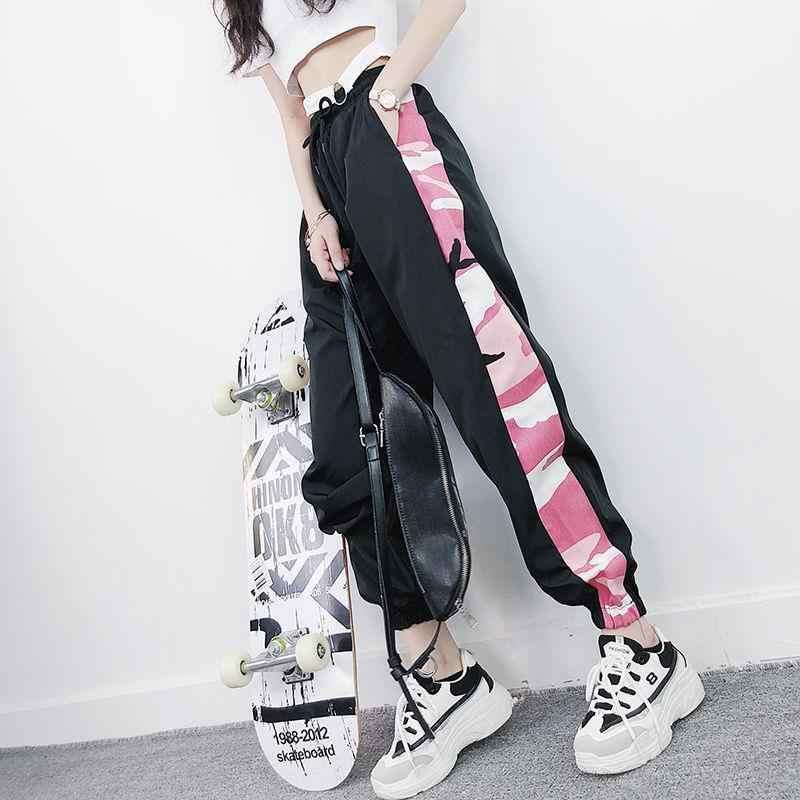 Artı boyutu pantolon kadın Harem pantolon yüksek bel Patchwork kamuflajlı kargo pantolon Joggers Streetwear kızlar Hip Hop dans pantolon