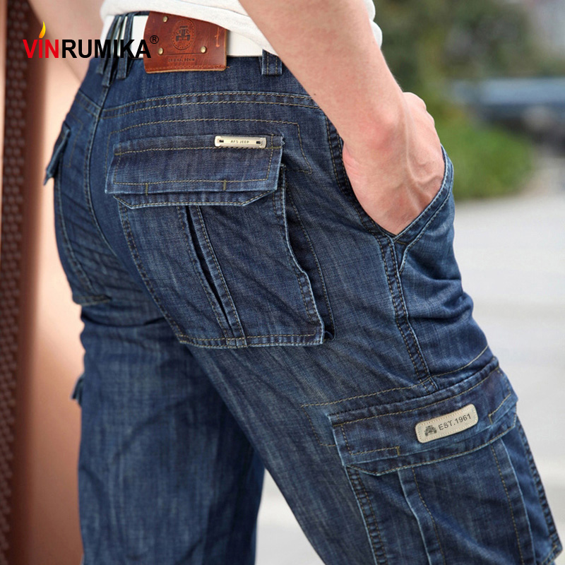 2020 Summer Men's Casual Brand High Quality Overalls Jeans Man Spring Multi-pocket Denim Blue Pants Cargo Cowboy Long Trousers