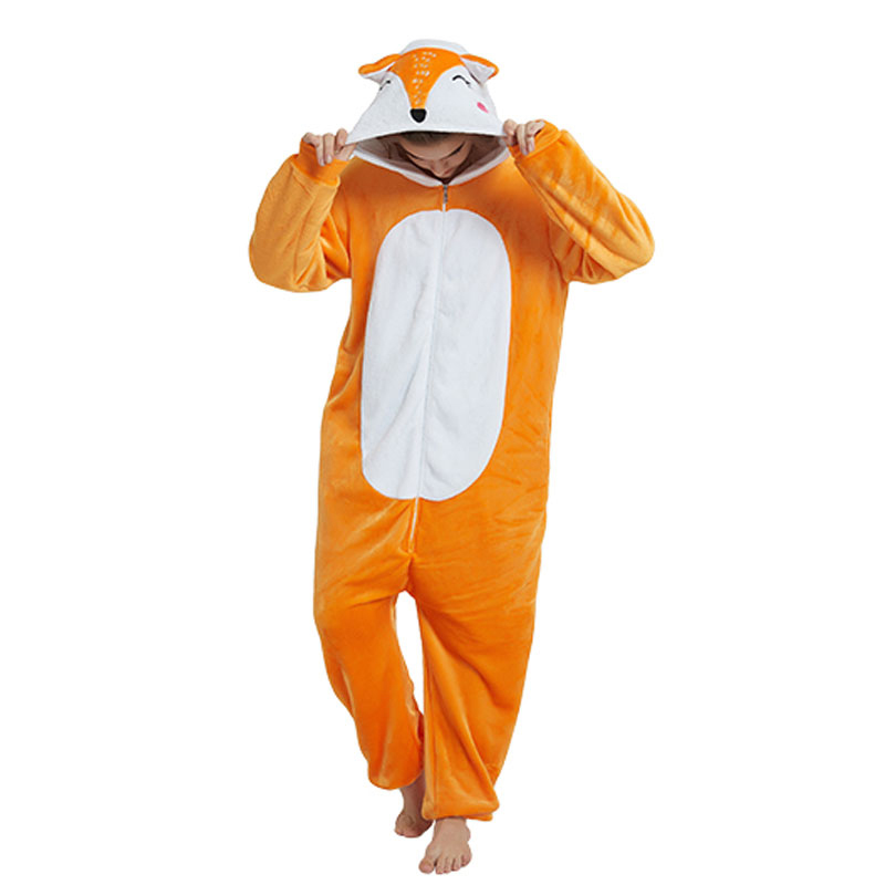 Animal Fox Kigurumi Adult Women Onesie Cartoon Sleepwear Kawaii Pajama Orange White Soft Onepiece Winter Suit Festival Outfit