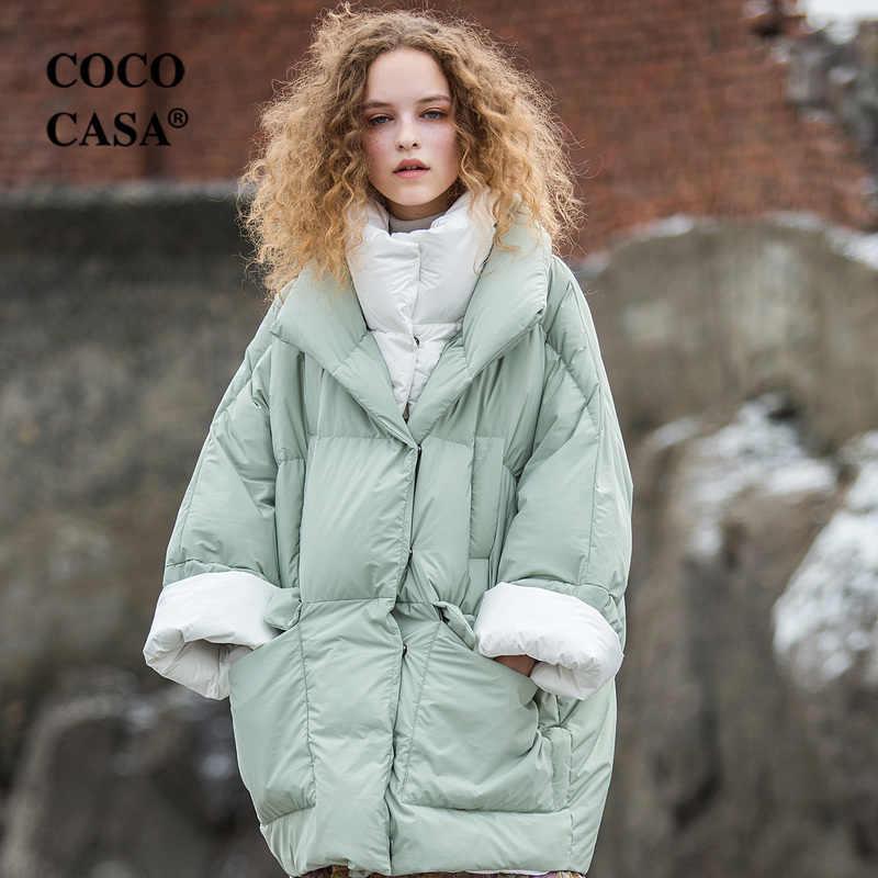 Winter Frauen Ultra Lose Kokon Stil Farbe Kontrast Starke 90% Weiße Ente Unten Jacken Schwarz Mäntel 5 Farben