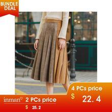 INMAN, зима, Новое поступление, Женская юбка с контрастным цветным покрытием