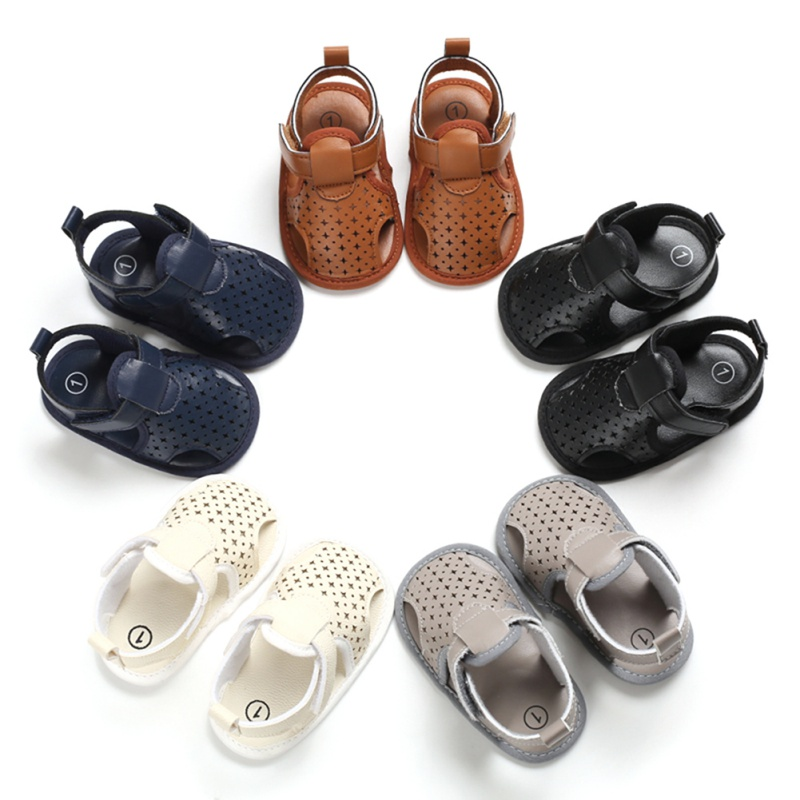 Star Hollow Baby Boy Sandals Clogs Summer Toddler Soft Sole Anti-Slip Shoes Baby Boy Sandals Pu Shoes For 0-18M 1