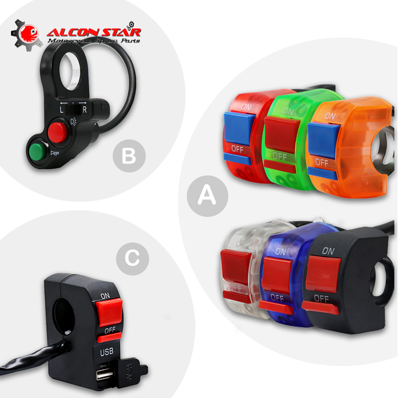 Alconstar- Motorcycle Motorbike <font><b>Handlebar</b></font> ON/OFF Button Connector Push <font><b>Switch</b></font> with USB for Light For Honda for Yamaha ATV <font><b>Bike</b></font> image