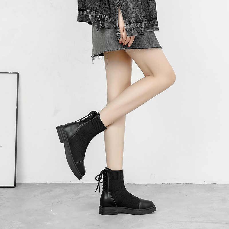 2019 automne hiver printemps mode retour à lacets cheville chaussette en cuir tricot bottes femmes