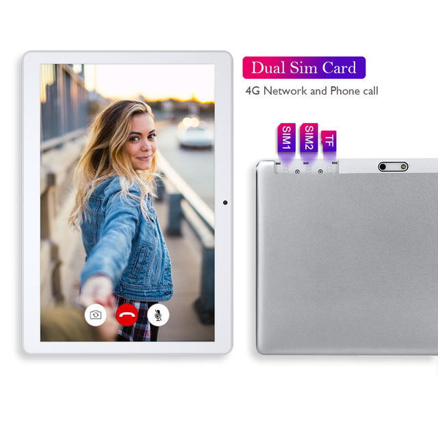 Tablet 10.1 Inch Dual SIM 4G Phone Call Tablets Octa Core Android 10.0 HD Touchscreen Tablet 32GB ROM 2GB RAM 5000mAh Battery 3