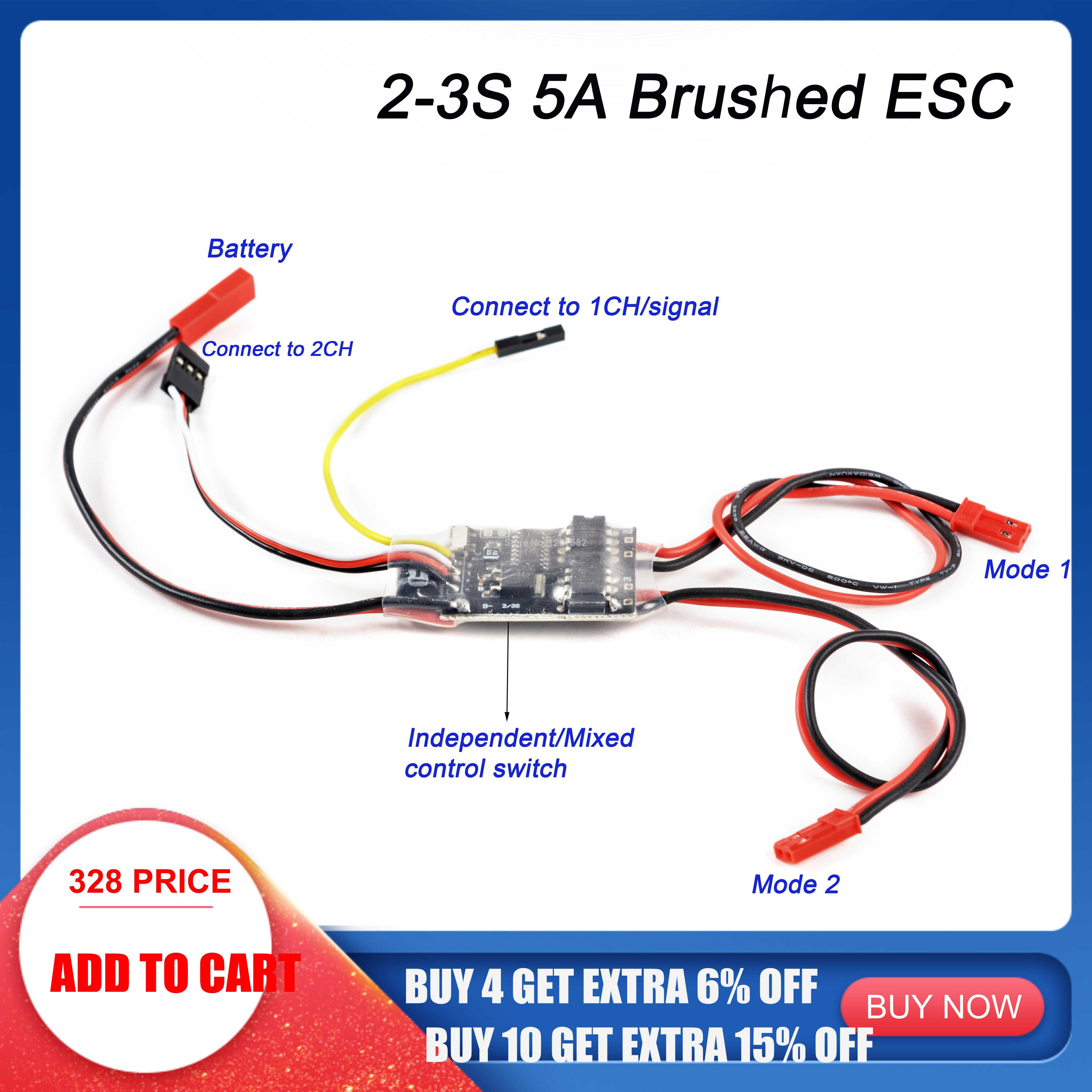 NEW 2S-3S Lipo 5A ESC Dual Way Bidirectional Brushed ESC Speed Control For RC Model Boat/Tank 130 180 Brushed Motor Spare Parts