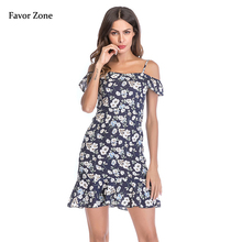 2019 Summer Dress Women Boho Style Floral Print Bohemian Chiffon Dress Sexy Off Shoulder Ruffle Strap Casual Party Beach Dresses 2019 mother and daughter cothes outfit long dress chiffon off shoulder floral print bohemian beach dress