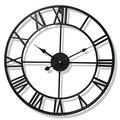40/47 см скандинавские металлические римские настенные часы Ретро железные круглые черные золотые большие наружные садовые часы украшение д...