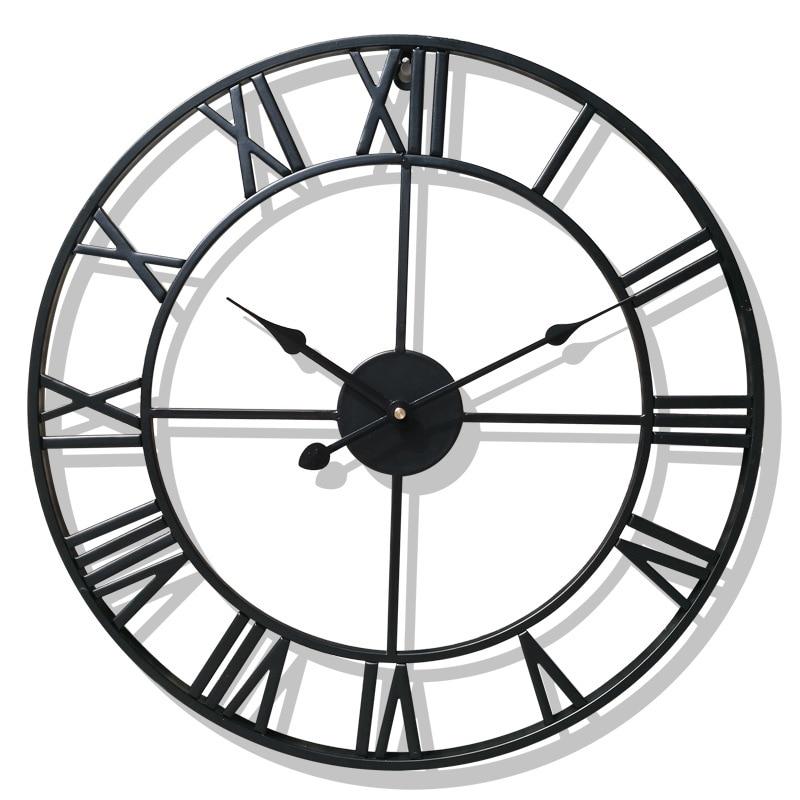 40/47CM Nordic Metal Roman Numeral Wall Clocks Retro Iron Round  Face Black Gold Large Outdoor Garden Clock Home DecorationWall Clocks