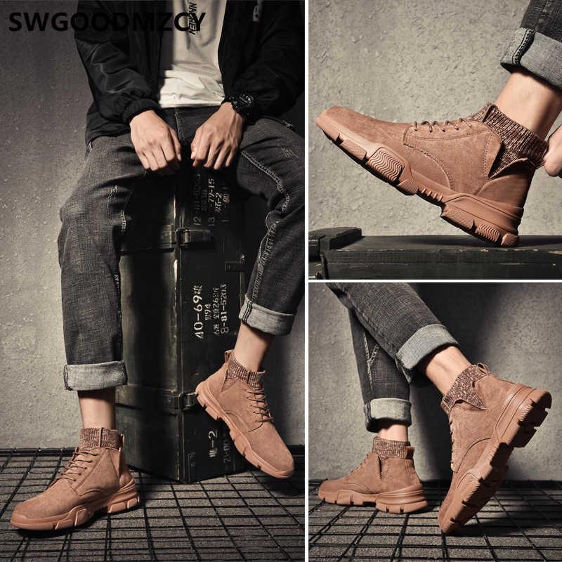 黒アンクルブーツ男性デザートブーツチェルシーブーツ男性の靴 + 男性 bota ş モト hombre erkek ayakkabi zapatos デ hombre sepatu pria