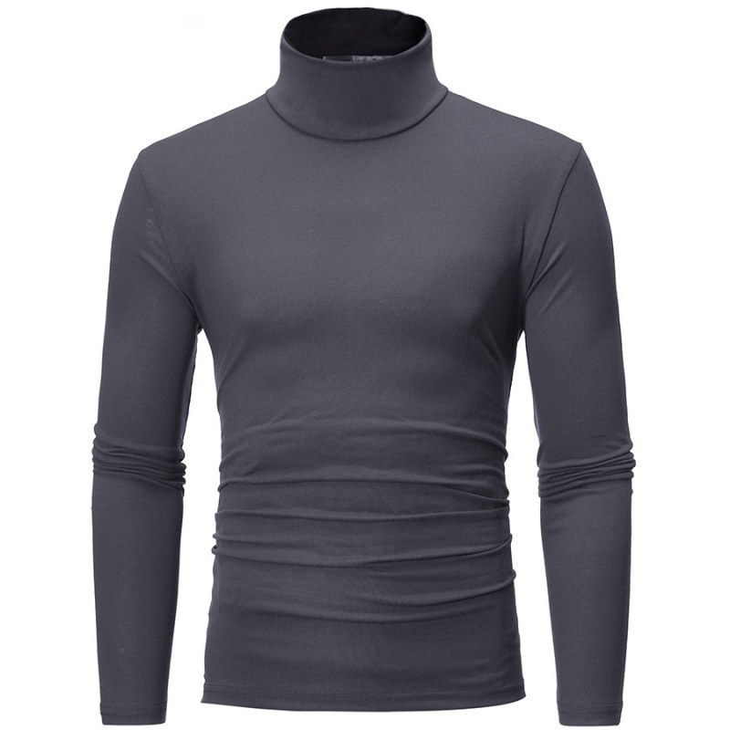 New Streetwear Men's Winter Warm Cotton High Neck Pullover High Collar Solid Color Basic Slim Sweater Fashion Bottoming Shirt
