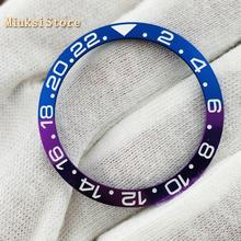 38mm azul/morado Nuevo reloj de titanio biseles ajuste GMT reloj mecánico automático reloj de hombre biseles