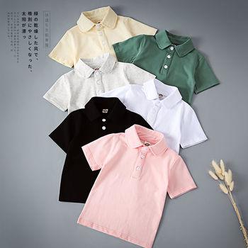 Chłopięca koszulka Polo koszula w całości z bawełny cienki odcinek 2021 dziewczynka letnia koszulka z krótkim rękawem dla dzieci koszulka z kołnierzykiem dziecięca koszula z rękawami do połowy długości tanie i dobre opinie Ywstt SHORT COTTON CN (pochodzenie) Dobrze pasuje do rozmiaru wybierz swój normalny rozmiar Damsko-męskie Stałe oddychająca