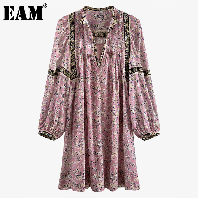 [EAM] Women Pattern Printed Pleated Vintage Dress New V-Neck Long Sleeve Loose Fit Fashion Tide Spring Summer 2021 7A038 1