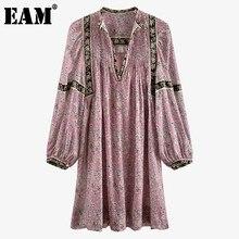 EAM – robe plissée Vintage à motifs pour femmes, col en v, manches longues, coupe ample, tendance, nouvelle collection printemps été 2021, 7A038